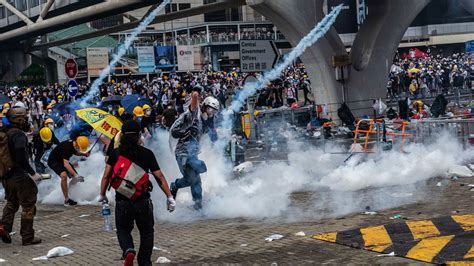 extradition protesters  hong kong face tear gas  rubber bullets   york times