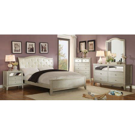 contemporary bedroom furniture tufted leatherette silver