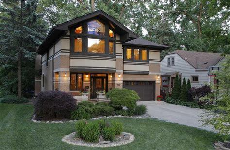 prairie home architecture prairie style home with garage and front garden design