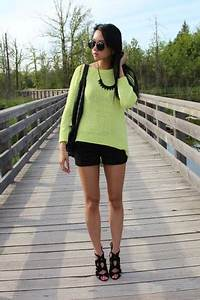 Black Forever 21 Shorts Lime Green Zara Sweaters Black