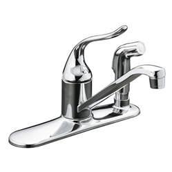 shop kohler coralais polished chrome 1 handle low arc kitchen faucet at lowes