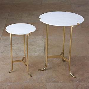 Pavlova Hollywood Regency Brass White Marble Side Table
