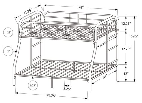 Bunk Bed Dimensions by Bunk Bed Size Silver Metal Youth