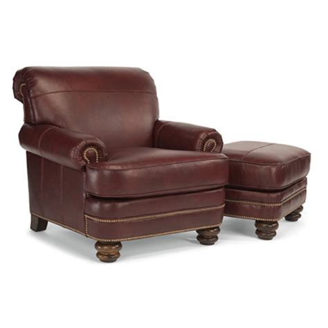 flexsteel b3791 10 08 bay bridge leather chair and ottoman