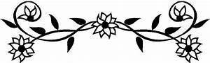 Black And White Flower Border Clipart