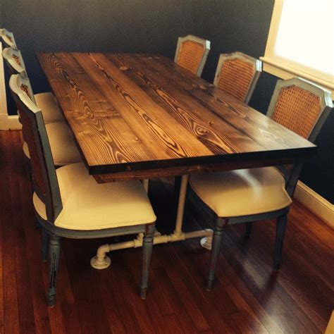 industrial style table solid wood stained dark walnut