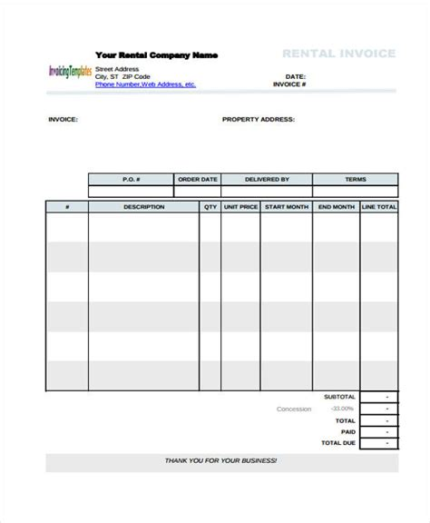 real estate invoice templates  word  format