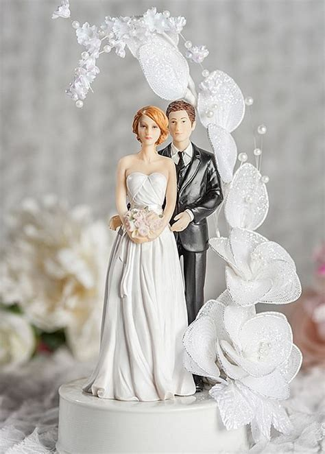 contemprary and groom vintage glitter flower arch wedding cake topper wedding collectibles
