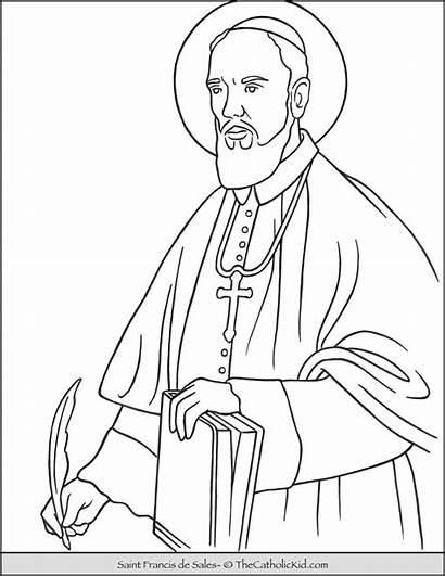 Coloring Saint Francis Sales Thecatholickid Catholic Colorful