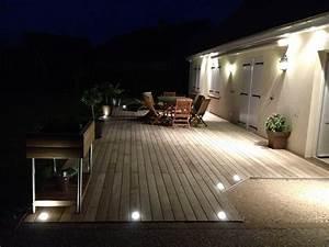 Eclairage Terrasse Bois : eclairage exterieur terrasse sol ~ Melissatoandfro.com Idées de Décoration