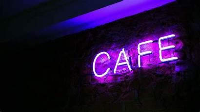 Neon Cafe Letters Inscription Background 1080p Illumination