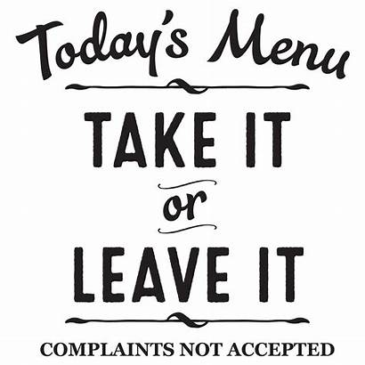 Menu Quotes Wall Decal Todays Kitchen Take