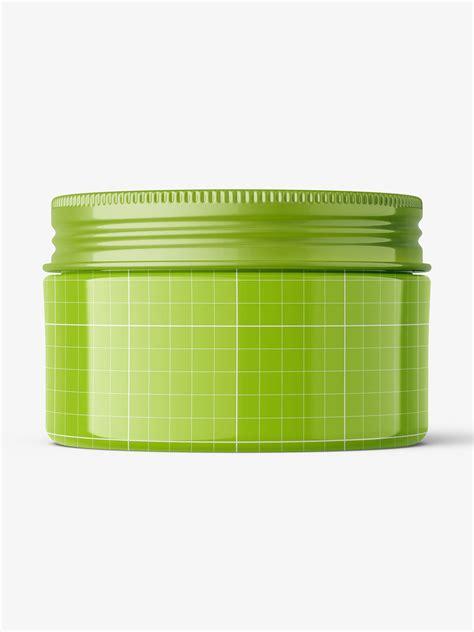 View free cosmetic jars mockup. Wide plastic jar with metallic cap mockup / glossy ...