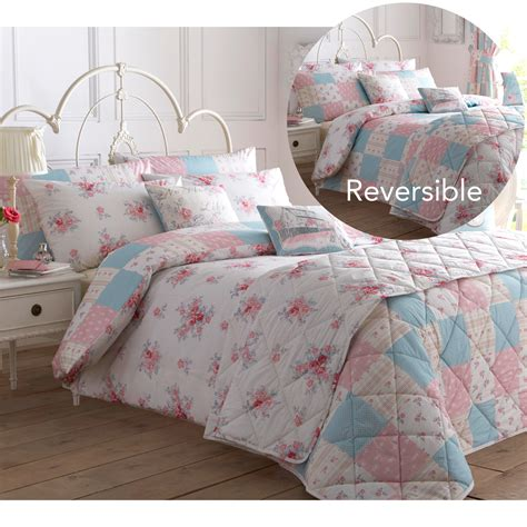 shabby country chic duvet cover with flowers reversible patchwork bedding set - Country Chic Comforter Sets