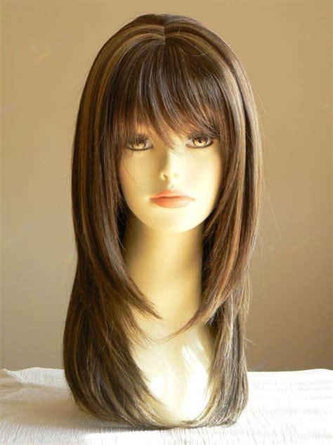 long lady sandy straight medium brown layered wigs salon