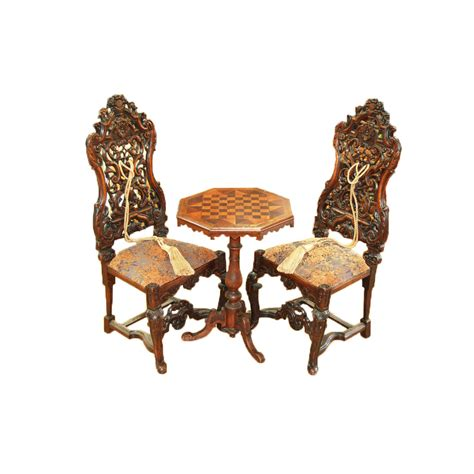 baroque chair and chess table set thull
