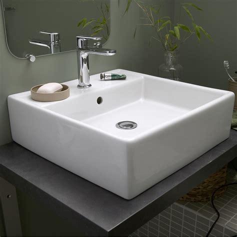 vasque cuisine à poser vasque à poser céramique l 46 x p 46 cm blanc edge leroy