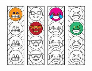 Emoji 2 Bookmarks PDF Zentangle Coloring Page