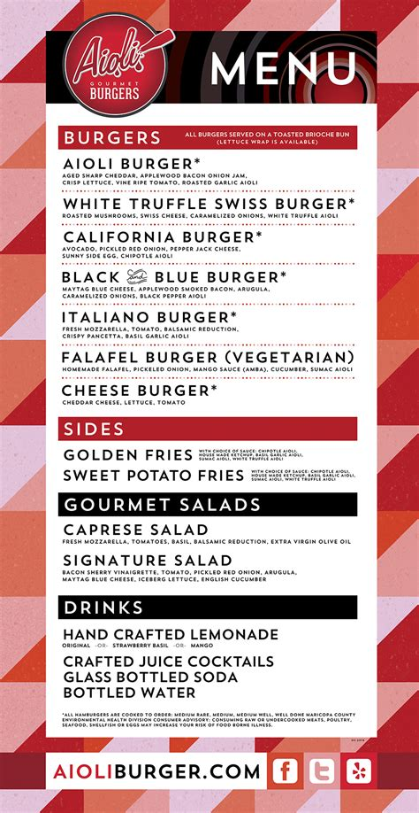 Aioli Burger Menu Best Food Truck Traveling