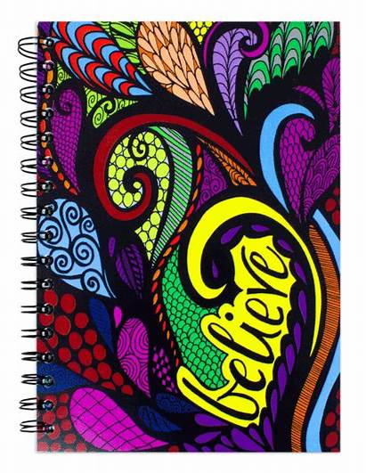 Pages Journal Spiral Notebook Lined Colored Believe