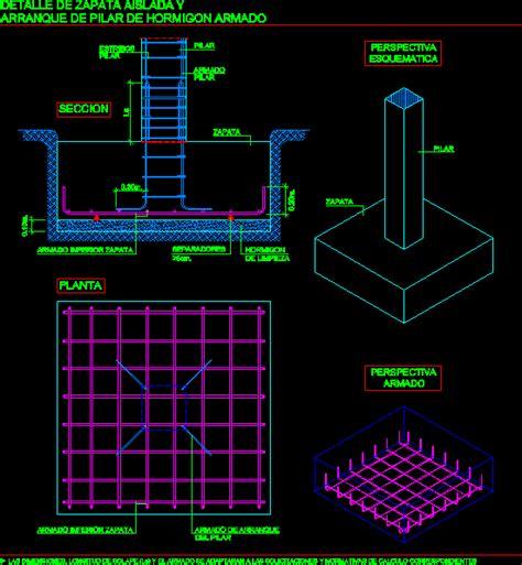 reinforced concrete footing  pilar dwg plan  autocad