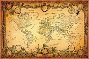 NEW ANTIQUE STYLE WORLD MAP / VINTAGE MAP / GLOBE / ATLAS ...