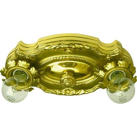 vintage polished brass two light flush mount light fixture