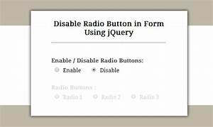 Enable  Disable Radio Button Using Jquery