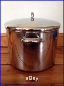 vtg revere ware  qt quart usa  copper clad stainless steel stock pot lid stock pot