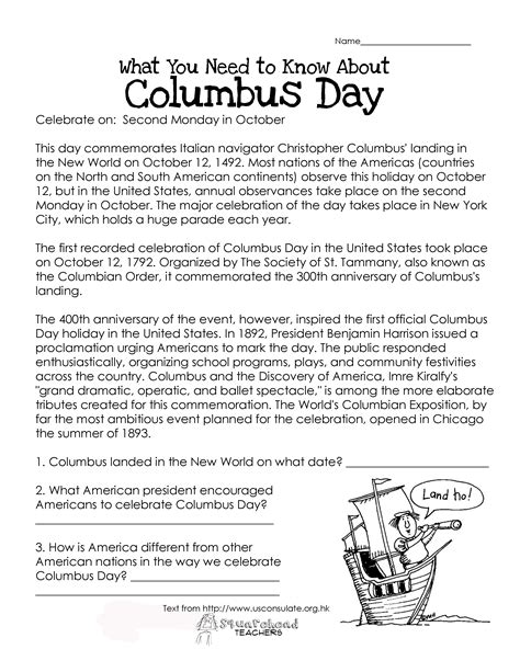 Columbus Day (free Worksheet)  Squarehead Teachers