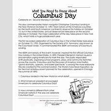 Columbus Day (free Worksheet)  Squarehead Teachers