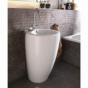 Credence Lavabo Salle De Bain : lavabo colonne en c ramique blanc ic ne leroy merlin ~ Dode.kayakingforconservation.com Idées de Décoration