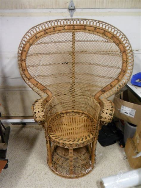 1 vintage folk wicker arts crafts rattan peacock fan