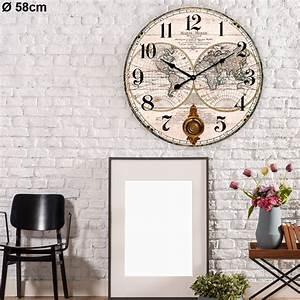 Große Uhr Wand : gro e wand uhr rund mdf lackiert welt karte pendel zeiger befestigungsmaterial ebay ~ Indierocktalk.com Haus und Dekorationen