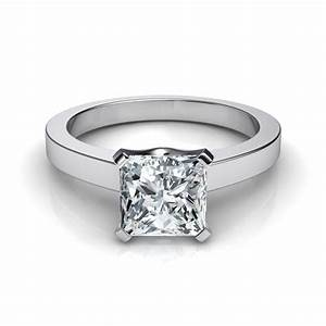 Princess cut solitaire engagement ring 14k white gold for Princess cut solitaire engagement ring with wedding band