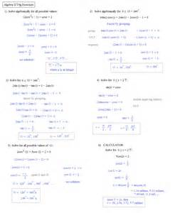 Trigonometry Review Worksheet Algebra 2 Trig Reference Sheet Match Problems And Answers