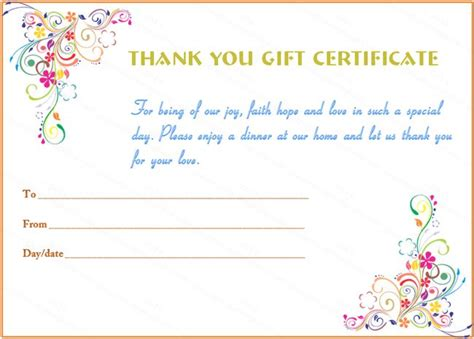 Special Day Thank You Gift Certificate Template Country House Gifts Put In Bay Ohio Wedding Picture For Parents Grandma Opens Present Baptism Paper Store Crochet Kitchen Peacock Amazon Nursing Thank You Christmas