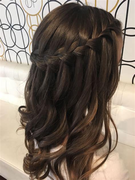 waterfall braid  loose curls peinados hair
