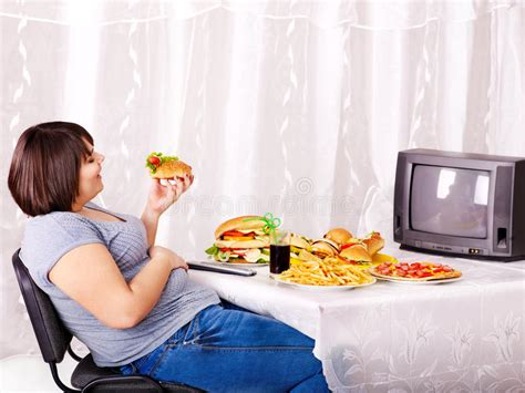 cuisine tv free fast food and tv stock photo