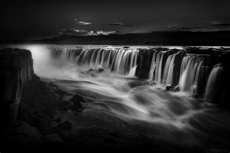 Grayscale Photography Of Waterfalls, Iceland Hd Wallpaper