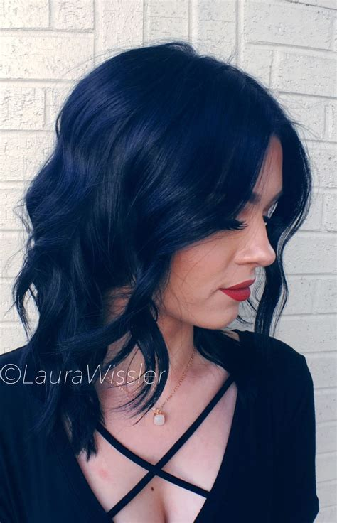 Midnight Blue Black Hair Color And Textured Lob Instagram
