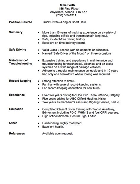 Long Haul Truck Driver Resume Example Http