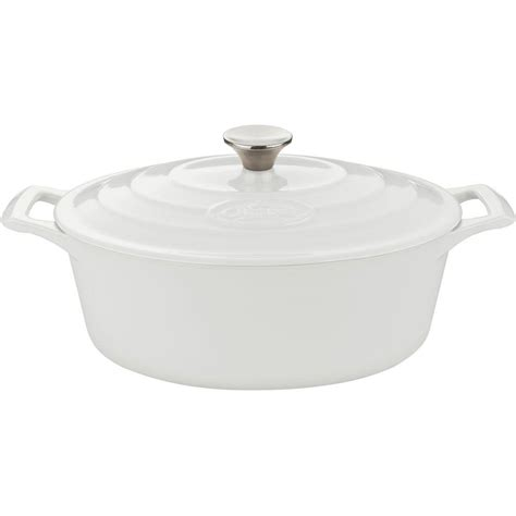 pro cuisine la cuisine 6 75 qt cast iron oval casserole with blue