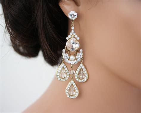 gold chandelier earrings large statement wedding earrings