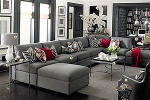 Bassett furniture gray living room white walls dark for Dark gray living room furniture