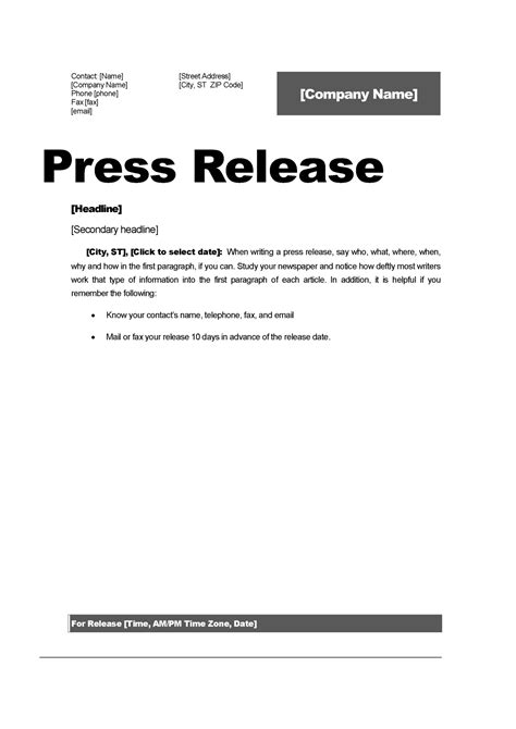 Press Release Template by Top 5 Resources To Get Free Press Release Templates Word