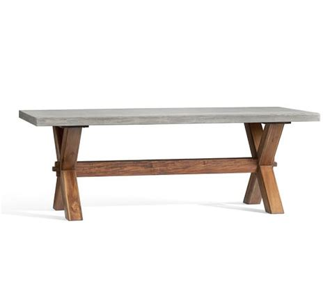 cement top dining table abbott rectangular dining table pottery barn