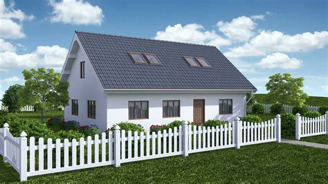 Construction Of House With Garden. Time-lapse 3d Animation