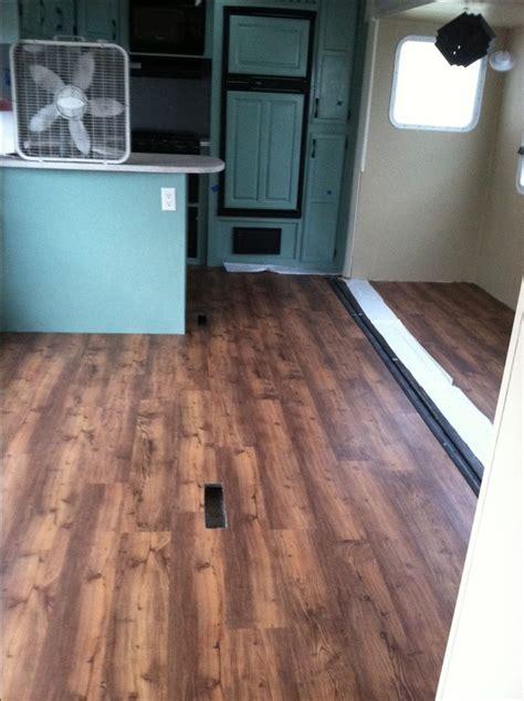 vinyl plank flooring for rv the new flooring is going in trafficmaster allure barnwood vinyl plank flooring from home