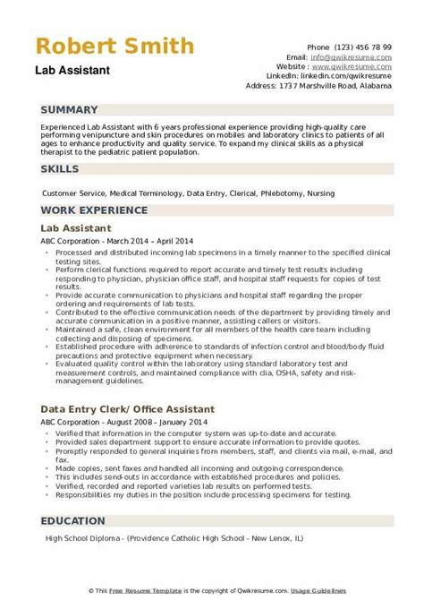 lab assistant resume samples qwikresume